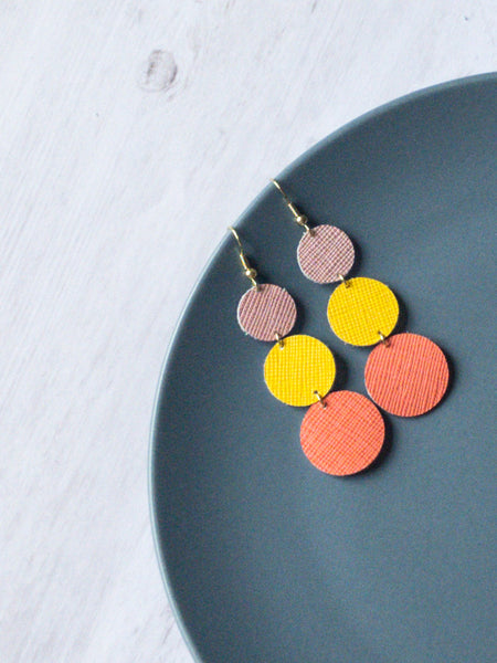 Sunset Triple Stack Leather Earrings