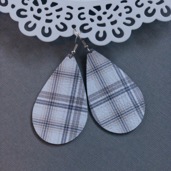 Tartan Plaid Leather Earrings