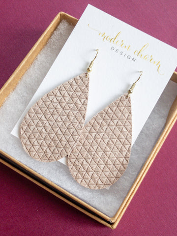 Nude Blush Triangle Leather Earrings