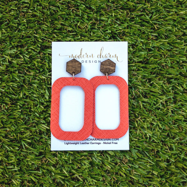 Coral Saffiano Leather Earrings
