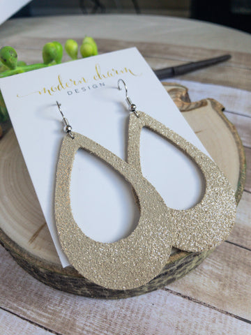 Dazzle Champagne Leather Earrings