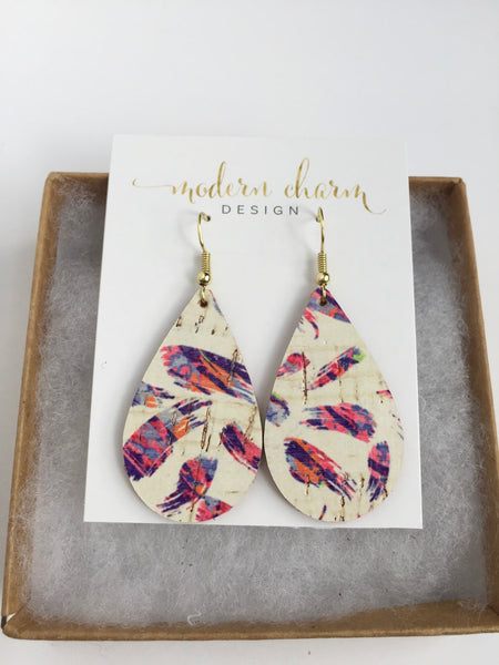 Purple Pink Flair Cork Earrings