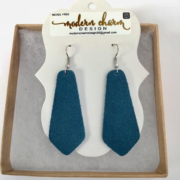 Dark Teal Suede Earrings