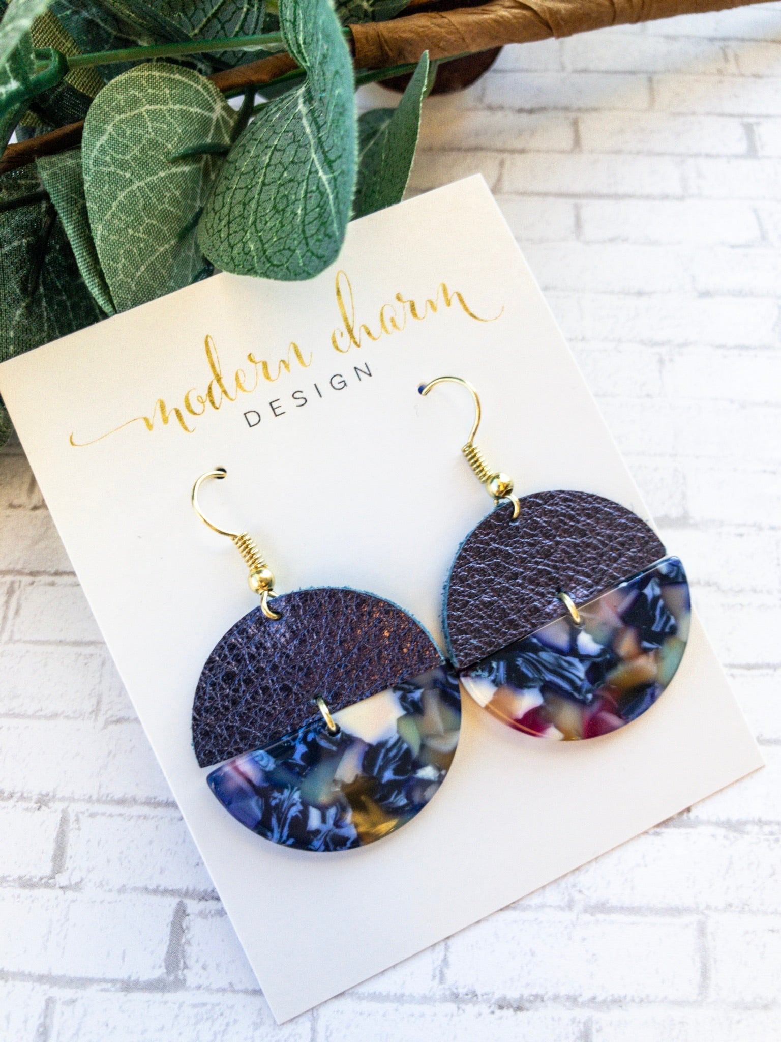 Metallic Navy Half Disc Statement Earring