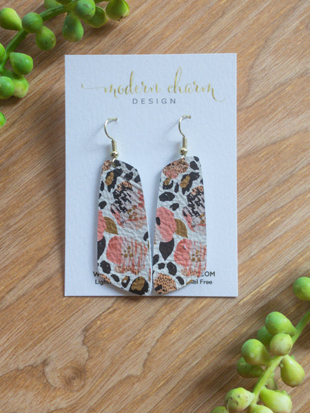 Wild Blossom Leopard Leather Earrings