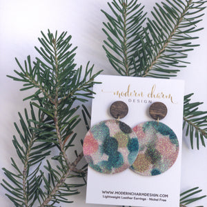Water Color Glitter Leather Earrings