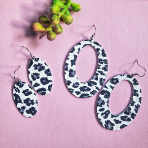 Gray Kiss Cheetah Leather Earrings