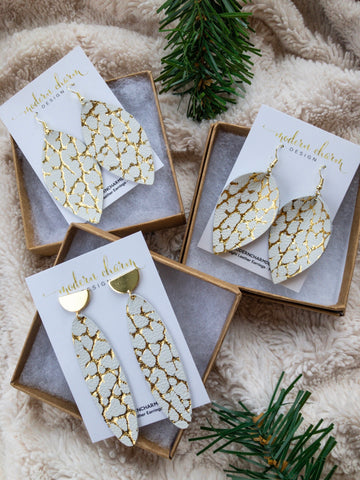 Gold Metallic on Ivory Earrings