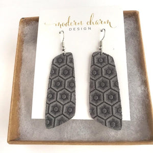Honeycomb Ash Gray Leather Earrings