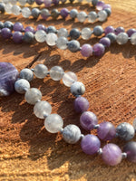 Matte Amethyst, Smokey Quartz and Grey Picture Jasper hand-knotted Mala