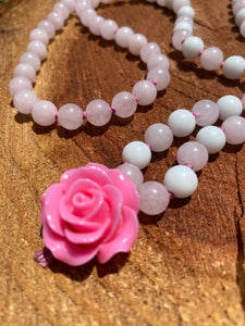 Rose Quartz hand-knotted Mala