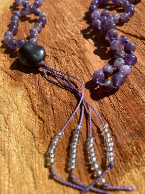 Amethyst hand-knotted Mala