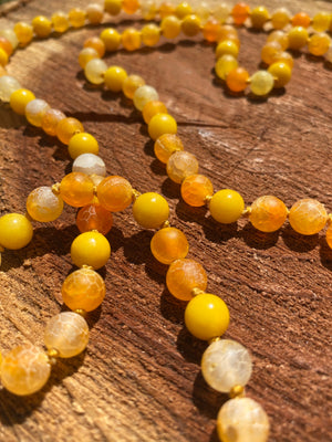 Mountain Yellow Jade and Orange/Yellow matted Agate hand-knotted Mala