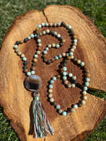 African Opal and Aqua Fire Agate hand-knotted Mala