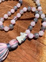 Rose Quartz & Smokey Quartz hand-knotted Mala