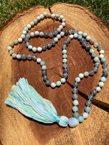 Matte Amazonite Smokey Quartz hand-knotted Mala