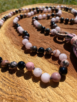 Pink Lilac Opal Jade, Rhodonite and Onyx hand-knotted Mala