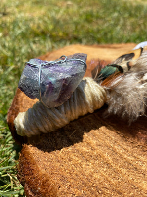 Fluorite Feather Smudging Wand