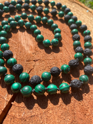 Malachite and Black Lava bead Mala