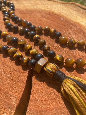 Tiger Eye and Obsidian hand-knotted Mala