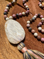 Rhodonite hand-knotted Mala