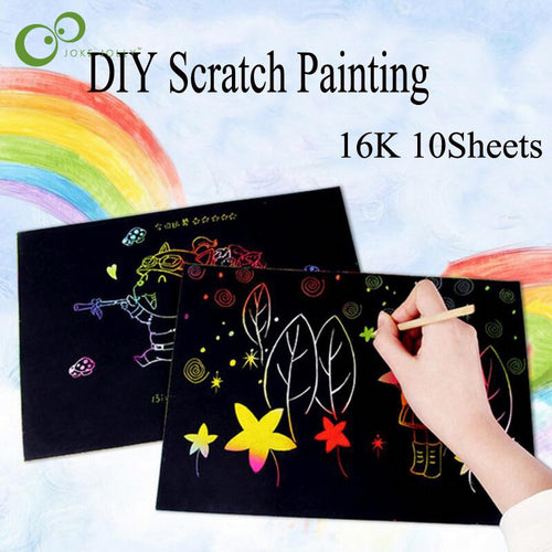 Colorful Scratch Art Paper Magic Painting Paper (10 Sheets)