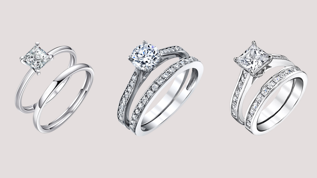 Three Pairs of Engagement Ring and Wedding Ring