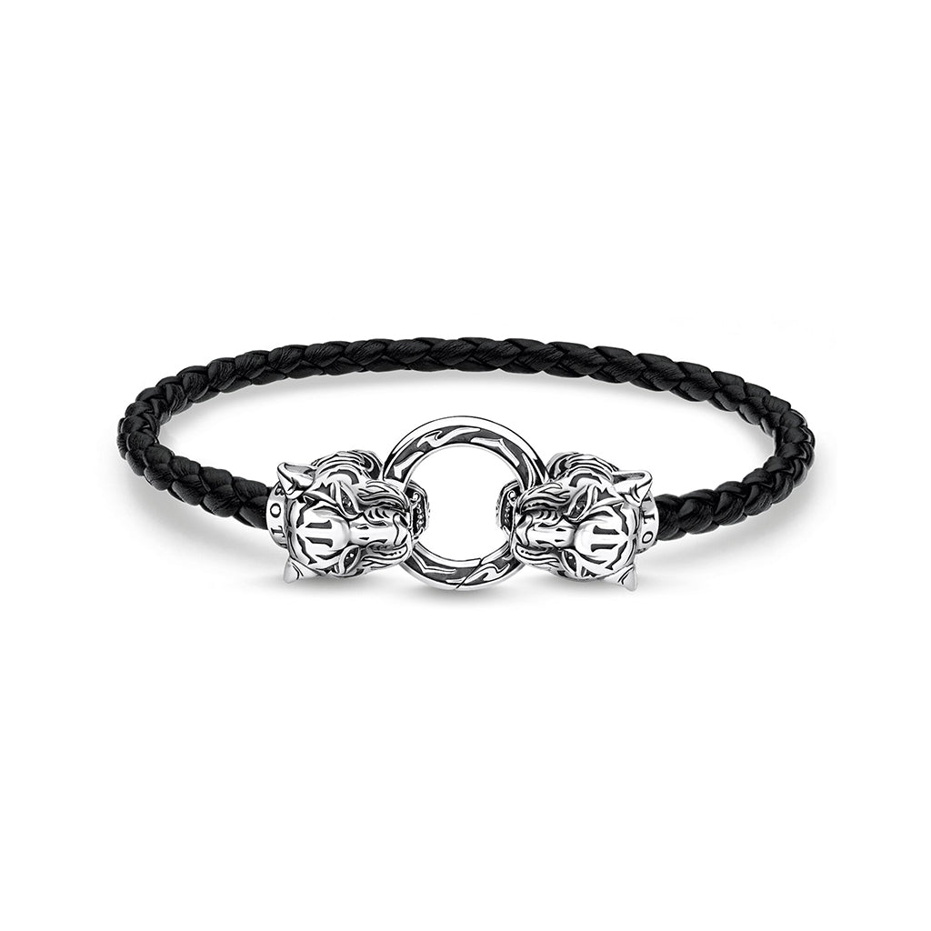 product picture of mens leather bracelets with silver tigers.leather bracelets for men are best gifts for men.best man gifts are mens leather bracelets.black leather bracelets for men.