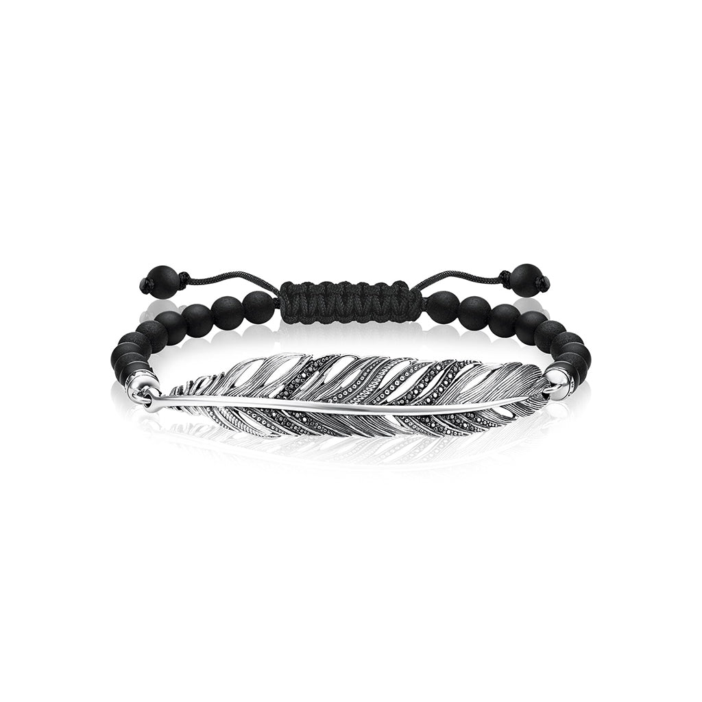 Beaded bracelets with silver feathers are classic mens beaded bracelets. best man gifts are Thomas Sabo mens beaded bracelets.bracelets for men in beads are best gift ideas.