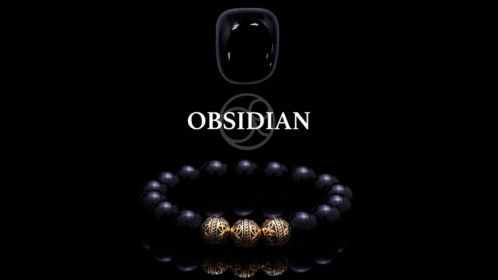 Obsidian Crystal and Obsidian with 24k Gold Plated Beads Beaded Bracelet