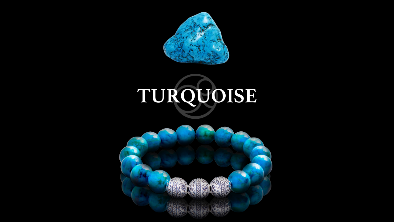 Turquoise Crystal and Sterling Silver Turquoise Beaded Bracelet