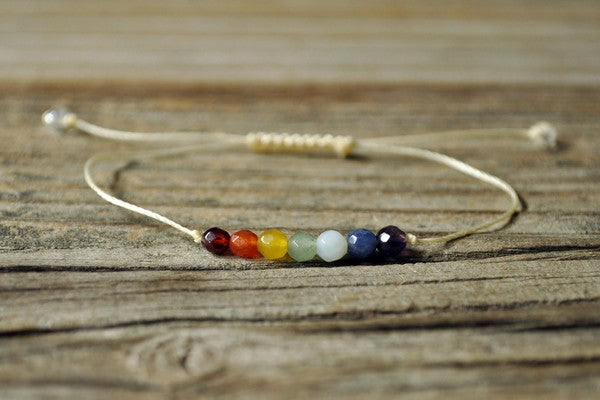 chakra bracelets with adjustable rope, bracelet with 7 chakra beads, chakra bracelet of 7 chakra colors, product picture of healing chakra bracelet, 7 chakra healing bracelets, chakra bracelet with healing properties