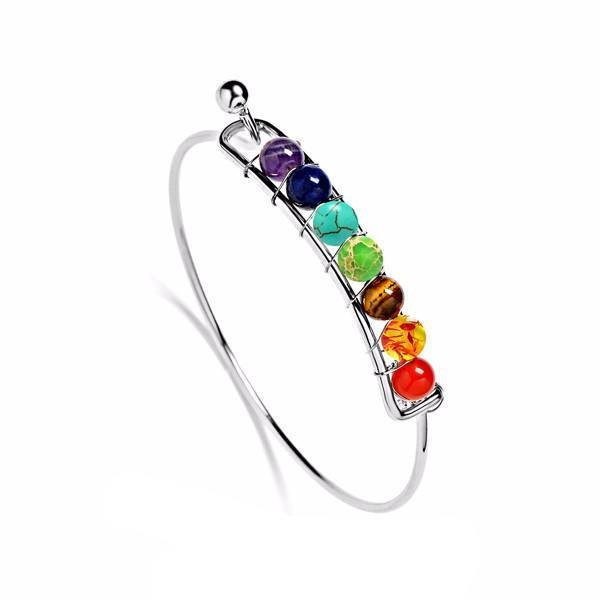 7 chakra bangle bracelet, bracelet with embedded 7 chakra beads, silver bangle bracelet made of 7 chakra, 7 chakra bracelet with spiritual energy, 7 chakra color silver bangle bracelets
