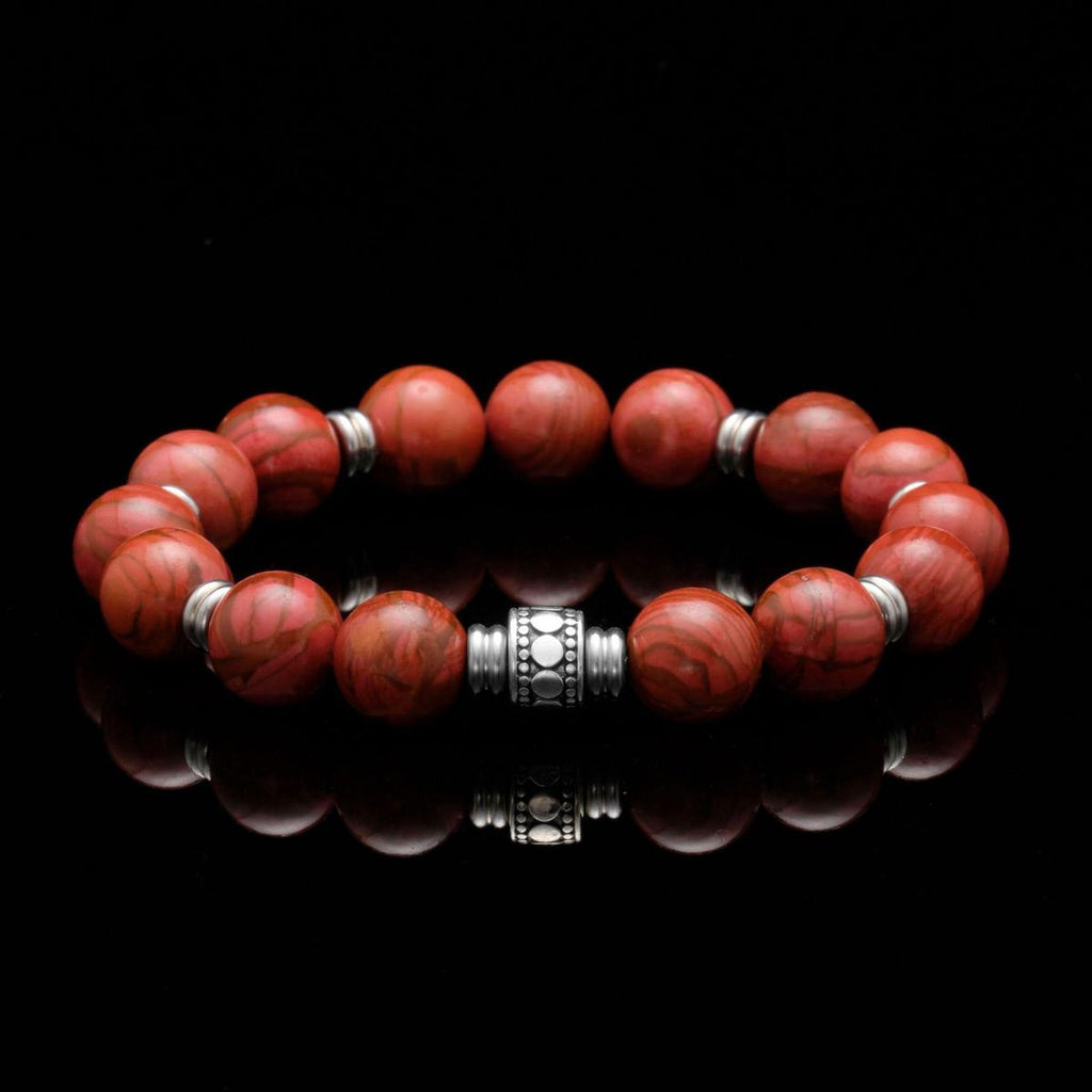red jasper chakra bracelet, bracelet with red chakra stone and silver spacer, chakra beaded bracelet made of red jasper, chakra stone bracelet for men, best chakra bracelet product picture