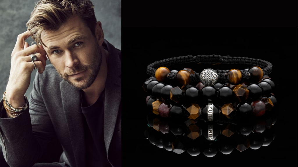 celebrity chris hemsworth wearing mens beaded bracelet with tiger eye stone