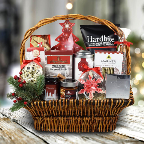 christmas basket with delicious snacks as an option for the perfect christmas present for friends