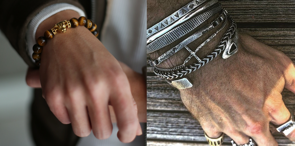 comparison picture of multiple accessories and one bracelet. enlarged mens bracelet pictures in different styles. mens bracelets including mens beaded bracelets and mens silver bracelets.