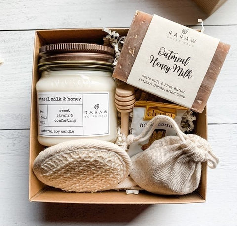 eco-friendly box with milk, oatmeal and honey products as an option of 4 Thoughtful thanksgiving gift ideas for Family