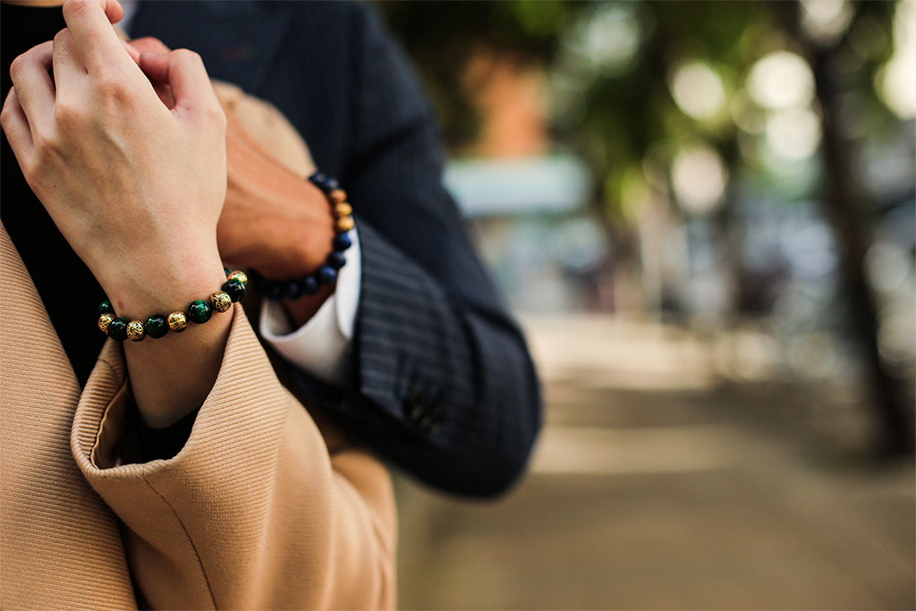 a couple wearing matching couple bracelets. Couple bracelets is a good choice for relationship bracelets. matching couple bracelets ideas for long distance relationship couples.
