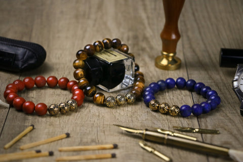 three different gold mens beaded bracelet like gold classic tiger eye bracelet gold classic red jasper beaded bracelet and gold classic lapis lazuli  as new year gifts ideas for husband
