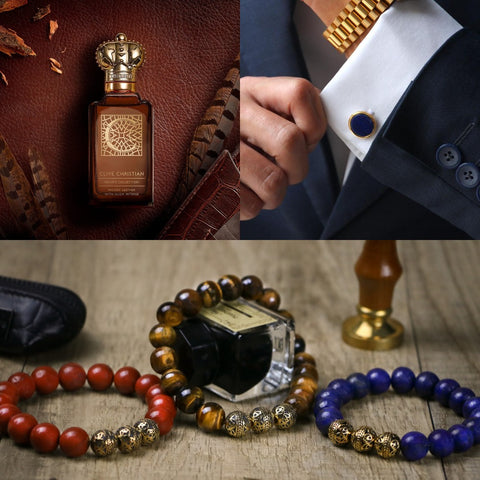 alt1: collage picture of new year gifts for men like personalized cufflinks for men made from Rhodium 24 Gold and Rose Gold plated with a high metallic luster three different color of gold mens beaded bracelets and Clive Christian C Woody Leather Perfume