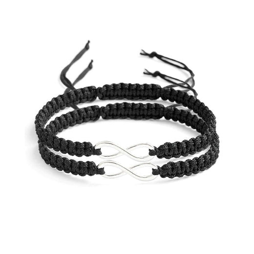 picture of couple bracelets in black, infinity style relationship bracelets for couple, matching couple band bracelets ideas for couples, nylon band bracelets for couples, black couple bracelets image