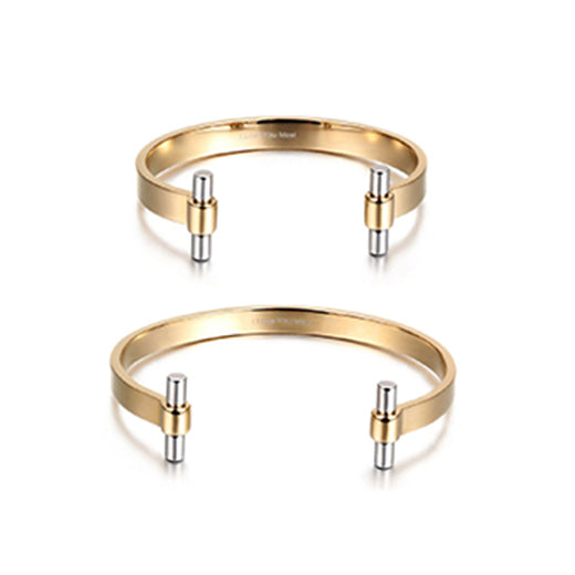 gold matching bracelets for couples, matching couple bracelets ideas, top couple cuff bracelets for couples, relationship bracelets in classic style, gold cuff couple bracelets for long distance relationship