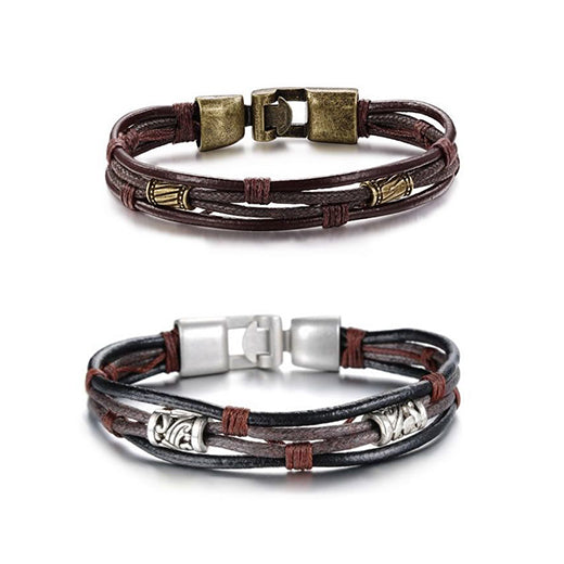 leather couple bracelets, matching couple bracelets with antique metal, leather bracelets ideas for couples, silver and gold couple relationship bracelets, bracelets of couple style in leather and metal