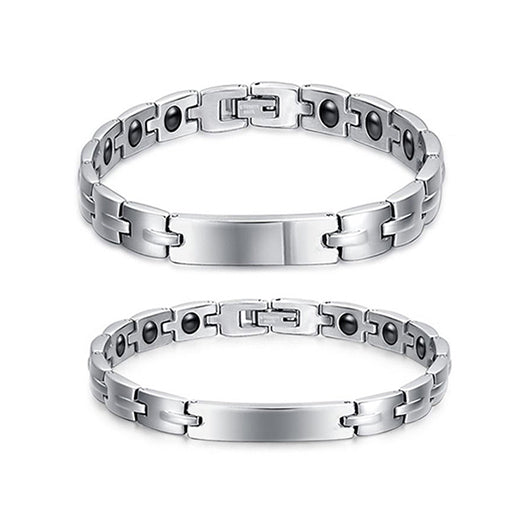 couple bracelets image, matching bracelets for couple, magnetic bracelets as matching couple bracelets, silver magnetic couple bracelets, couple bracelets with magnetic characteristic