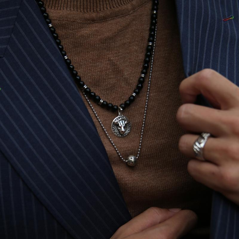 Necklace with suit, how to layer necklace men