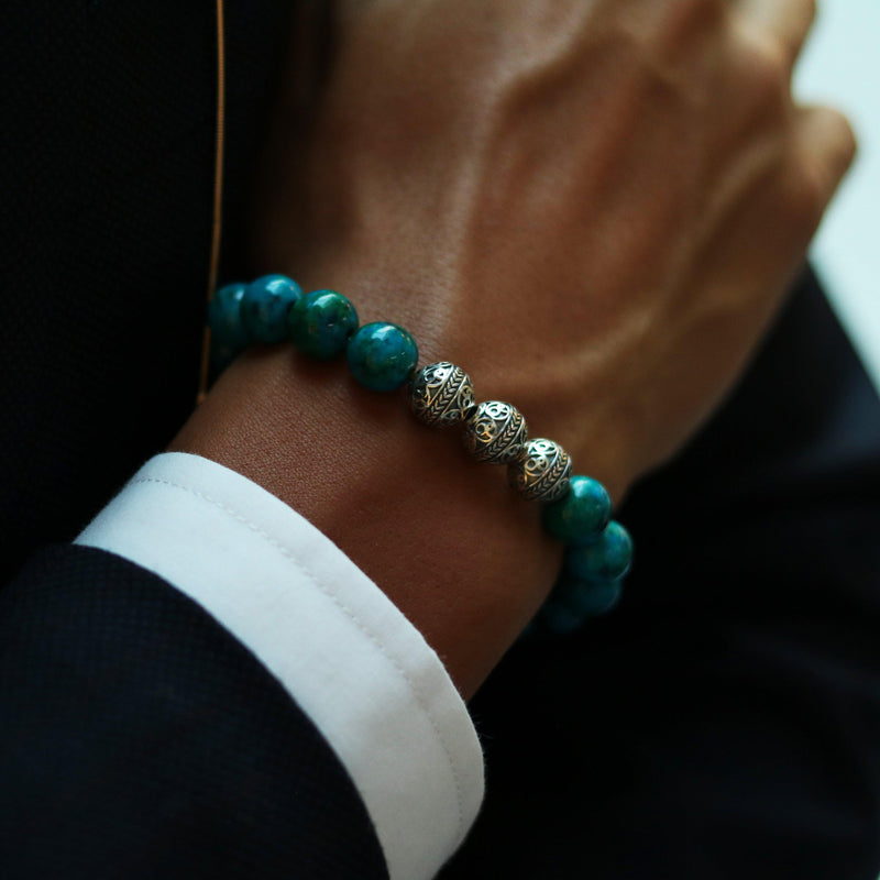 Silver Classic Blue Turquoise Mens Beaded Bracelet -7