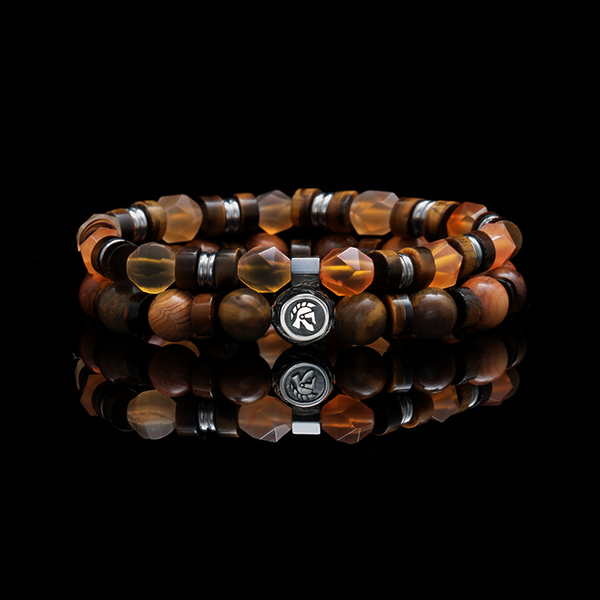 Pumpkin Pie | Men Stack Beaded Bracelets | Men Beaded Bracelet