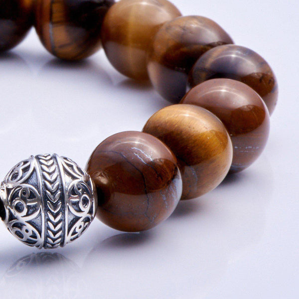 Silver Classic Tiger Eye Mens Beaded Bracelet -2
