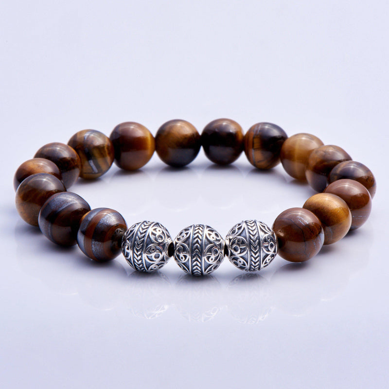 Silver Classic Tiger Eye Mens Beaded Bracelet -1